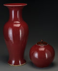 Asian:Chinese, Two Chinese Oxblood Ceramics: Jar and Vase. 19-1/2 incheshigh (49.5 cm) (vase). ... (Total: 2 Items)