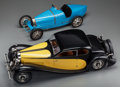 Decorative Arts, French, Two 1/6 Scale Cased Models of Bugatti Type 35 Lyon GrandPrix and 50t Cars, 20th century. 7-5/8 inch... (Total: 2Items)