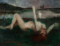 Lovis Corinth (German, 1858-1925) Leda, 1890 Oil on oak panel 14-1/4 x 19-1/4 inches (36.2 x 48.9