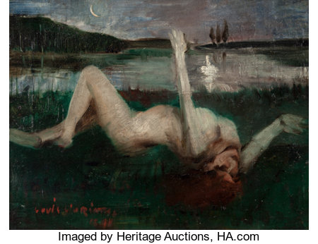 Lovis Corinth (German, 1858-1925)Leda, 1890Oil on oak panel14-1/4 x 19-1/4 inches (36.2 x 48.9 cm)Signed and ind...