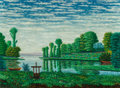 Fine Art - Painting, European:Modern  (1900 1949)  , Camille Bombois (French, 1883-1970). By the river. Oil oncanvas laid on panel. 13 x 18-1/4 inches (33.0 x 46.4 cm). Sig...