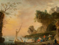 Fine Art - Painting, European:Antique  (Pre 1900), School of Charles François Lacroix (French, 1671-1782). AMediterranean coastal landscape with boats and figures. Oilon...