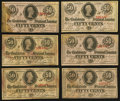 Confederate Notes:1863 Issues, T63 50 Cents 1863 Six Examples.. ... (Total: 6 notes)