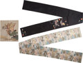 Asian:Japanese, Three Japanese Embroidered Silk Fukusa and an Obi Sash. 151 inches long (383.5 cm) (obi sash). Provenance: Ethry Shaw Guel... (Total: 3 Items)