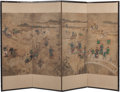 Asian:Other, A Korean Four-Panel Paper Screen, Joseon Dynasty. 48 h x 68 winches (121.9 x 172.7 cm). ...