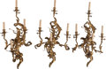 Decorative Arts, French:Lamps & Lighting, Three Continental Rococo-Style Gilt Bronze Four-Light Sconces, 20thcentury. 28-1/2 inches high x 16-3/4 inches wide (72.4 x... (Total:3 Items)