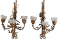 Decorative Arts, French:Lamps & Lighting, A Pair of Belle Epoque Partial Gilt Bronze and Frosted GlassThree-Light Wall Sconces, early 20th century. 24 inches high (6...(Total: 2 Items)