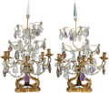 Decorative Arts, Continental:Lamps & Lighting, A Pair of Gilt Bronze Five-Light Candelabra with Cut-Glass andAmethyst Pendants, late 19th century in part. 29-1/2 inches h...(Total: 2 Items)