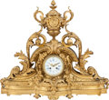 Clocks & Mechanical:Clocks, A Louis XVI-Style French Gilt Bronze Mantle Clock, 19th century. 23-1/2 inches high x 26 inches wide (59.7 x 66.0 cm). ...