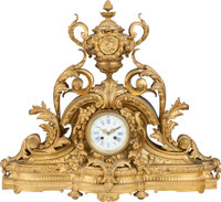 A Louis XVI-Style French Gilt Bronze Mantle Clock, 19th century 23-1/2 inches high x 26 inches wide (59.7 x 66.0 c