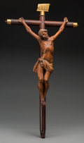 Decorative Arts, Continental:Other , A Continental Gilt Bronze-Mounted and Carved Wood Crucifix, 19thcentury. 29-1/2 inches high x 16 inches inches wide (74.9 x...