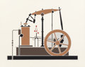 Fine Art - Work on Paper:Print, Lee Adler (American, b. 1934). Steam Engine and Pocket Watch II (two works). Screenprints in colors. 23 x 29 inches ... (Total: 2 Items)