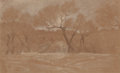 Fine Art - Work on Paper:Drawing, Elihu Vedder (American, 1836-1923). Sketch of Trees andHouses. Chalk, crayon, and pencil on paper. 7-3/4 x 12-1/2inche...