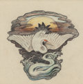 Fine Art - Work on Paper:Drawing, Elihu Vedder (American, 1836-1923). Design for Chairback withOriental Motifs, circa 1900. Pencil, crayon, and pastel on...