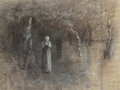 Fine Art - Work on Paper:Drawing, Thomas Hovenden (American, 1840-1895). Couple in Woods.Charcoal on paper. 9-3/8 x 12-1/2 inches (23.8 x 31.8 cm) (sight...