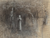 THOMAS HOVENDEN (American, 1840-1895) Couple in Woods Charcoal on paper 9-3/8 x 12-1/2 inches (23
