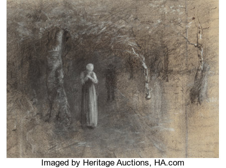 Thomas Hovenden (American, 1840-1895)Couple in WoodsCharcoal on paper9-3/8 x 12-1/2 inches (23.8 x 31.8 cm) (sight...