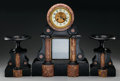 Timepieces, A Three Piece Neoclassical Onyx, Marble and Gilt Bronze Clock Garniture, 20th century. 19-1/2 x 15 x 6-1/2 inches (49.5 x 38... (Total: 3 Items)