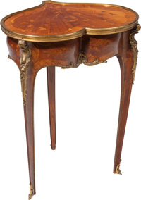 A Louis XVI-Style Gilt Bronze Mounted Mahogany and Kingwood Heart-Shaped Sewing Table with Foliate Marquetry, 19th ce