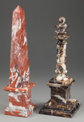 Decorative Arts, Continental, A Marble Obelisk and A Marble Column, 20th century. 17-1/2 incheshigh (44.5 cm) (obelisk). PROPERTY FROM THE ESTATE OF FR... (Total:2 Items)