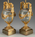 Decorative Arts, Continental, A Pair of Henry Dasson Gilt Bronze Mounted Marble Urn Lamp Bases,circa 1879. Marks: HENRY DASSON, 1879. 16 inches high ...(Total: 2 Items)
