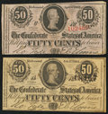 Confederate Notes:Group Lots, T63 50 Cents 1863 PF-3. T72 50 Cents 1864 PF-1 Cr. 578.. ...(Total: 2 notes)
