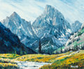 Fine Art - Painting, American:Contemporary   (1950 to present)  , J.W. Roy Kerswill (American, 1925-2002). Montana Mountains.Oil on canvasboard. 19-3/4 x 23-3/4 inches (50.2 x 60.3 cm)...