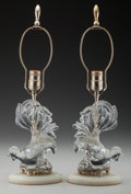 Decorative Arts, Continental:Lamps & Lighting, A Pair of Quartz and Glass Roosters Mounted as Lamps, 20th century.19-1/2 inches high (49.5 cm) (including harp and finial)... (Total:2 Items)
