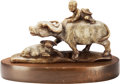 Asian:Chinese, A Chinese Carved Soapstone Group with Stand: Ox and Boy. 5inches high (12.7 cm) (excluding stand). ... (Total: 2 Items)
