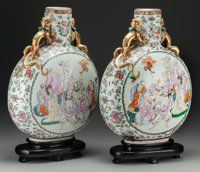A Large Pair of Chinese Canton Rose Enameled Moonflasks, late Qing Dynasty 19 inches high (48.3 cm) (excluding bas