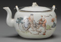 Asian:Chinese, A Chinese Republic Period Enameled Porcelain Teapot in Fitted SilkCase, circa 1912-1949. Marks: (effaced seal to underside)...