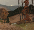 Fine Art - Painting, American:Modern  (1900 1949)  , Ben Foster (American, 1852-1926). Autumn Moonrise. Oil oncanvas. 42 x 48-1/4 inches (106.7 x 122.6 cm). Signed lower ri...