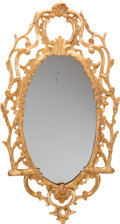 Decorative Arts, French:Other , A Louis XV-Style Carved Giltwood Mirror, 19th century. Sticker toverso: STONELEIGH ABBEY, KENILWORTH. 40 inches high x ...