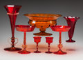 Art Glass:Other , Seven Salviati-Style Venetian Red and Orange Glass Vessels, early20th century. 14-3/8 inches (highest) x 13 inches (widest)...(Total: 7 Items)