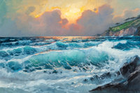 Alexander Dzigurski II (American, 1968) Sea at Sunset Oil on canvas 24 x 36 inches (61 x 91.4 cm)