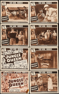 "Jungle Queen (Universal, 1944). Title Lobby Cards (2) & Lobby Cards (6) (11"" X 14"") Chapter 7 -- ""..."