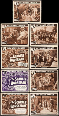 """The Scarlet Horseman (Universal, 1946). Title Lobby Cards (3) & Lobby Cards (6) (11"""" X 14"""") Chapter 2 -- &..."""