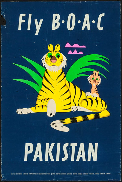 pakistan travel poster b o a c 1953 british silk screen lot