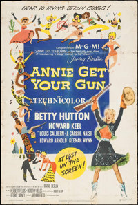 "Annie Get Your Gun & Others Lot (MGM, 1950). One Sheets (3) (27"" X 41"") & Three Sheet (41"" X 79.5..."
