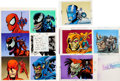 Original Comic Art:Miscellaneous, Marvel Universe Series 4 Trading Cards Hand-Colored CardBack Production Color Guide Original Art Group of 3 (Marvel/S...(Total: 3 Items)