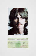 Music Memorabilia:Autographs and Signed Items, Beatles - George Harrison Signed Apple Corps Limited Check (UK, July 24, 1973), in Matted Display....