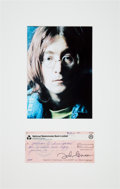 Music Memorabilia:Autographs and Signed Items, Beatles - John Lennon Signed MacLen Music Check (UK, March 18,1971), in Matted Display. ...