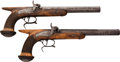 Handguns:Muzzle loading, Matched Pair of French 19th Century Saw Handled Percussion Pistolsby the Prestigious Arms Maker Le Page, Paris.... (Total: 2 Items)