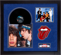 Rolling Stones Autographed Black and Blue Cover Display