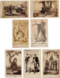 Photography:CDVs, Group of Seven Carte de Visites Cartoon Style Engravings of the Capture of Jeff Davis.... (Total: 7 )