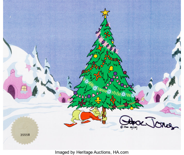 The Grinch Christmas Tree.Doctor Seuss How The Grinch Stole Christmas Production Cel