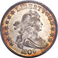 Early Half Dollars, 1806 50C Pointed 6, Stem, O-118a, T-24, R.3, AU53 PCGS. CAC....