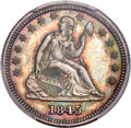 Proof Seated Quarters, 1845 25C PR64+ PCGS. CAC. Briggs 5-E....