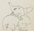 Animation Art:Color Model, Dumbo and his Mother Color Model Animation Drawings (WaltDisney, 1941)....