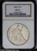 Seated Dollars: , 1846-O $1 AU55 NGC. A lightly worn example of this early NewOrleans issue, quite scarce in g...